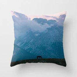 Mountain Sunset Horse - Landscape Wildlife Photography Throw Pillow