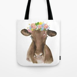 Brown Cow with Floral Wreath Tote Bag