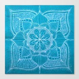Teal & White Hand-drawn Mandala Canvas Print