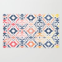 damask Area & Throw Rugs featuring Tropical Ikat Damask by micklyn