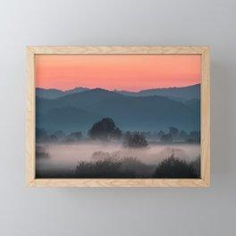 Foggy landscape at sunset Framed Mini Art Print