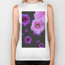 ASYMMETRICAL  PINK-PURPLE  HOLLYHOCKS ON DARK CHARCOAL GREY ART Biker Tank
