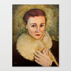 Woman in fur and lace gloves Canvas Print