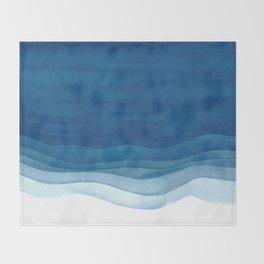 Watercolor blue waves Throw Blanket