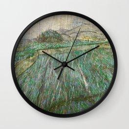 Vincent Van Gogh Wheat Field In Rain Wall Clock
