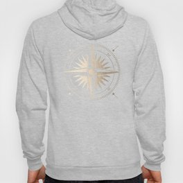 Gold on White Compass Hoody
