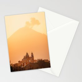Cholula Church with Volcano and Clouds During Sunrise | Mexico Photography Stationery Cards