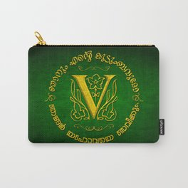 Joshua 24:15 - (Gold on Green) Monogram V Carry-All Pouch