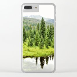 Rocky Mountain Beaver Pond by Reay of Light Clear iPhone Case