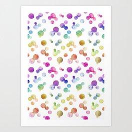 Small Rainbow Bright Pastel Watercolor Drops and Bubbles Art Print