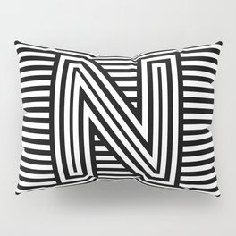 Track - Letter N - Black and White Pillow Sham