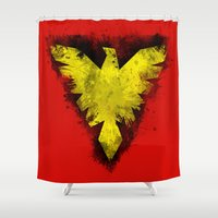 x men Shower Curtains featuring Phoenix - X-Men by Trey Crim