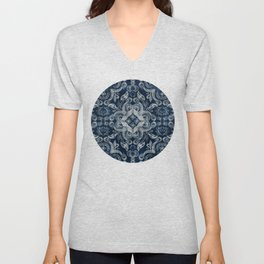 Indigo blue dirty denim textured boho pattern Unisex V-Neck