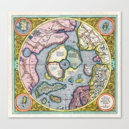 Vintage Map of the Arctic, 1606 Canvas Print