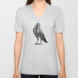 Crow (black & white version) Unisex V-Neck