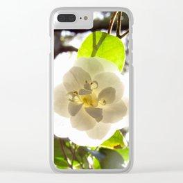 White Camellia Clear iPhone Case