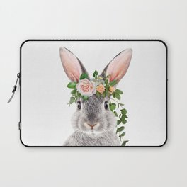 Baby Rabbit, Bunny With Flower Crown, Baby Animals Art Print By Synplus Laptop Sleeve