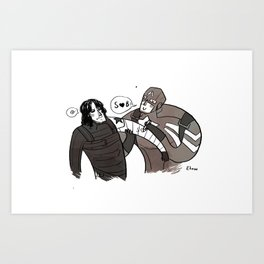 Can I draw on your arm, Bucky? Art Print