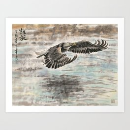 an eagle skiming over the water Art Print