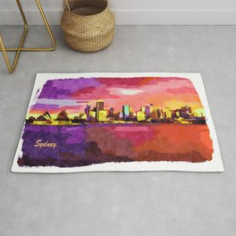 Sunset Skyline Of Sydney Downtown Rug