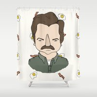 swanson Shower Curtains featuring Sunny Side Swanson by Toast Studios