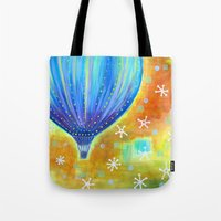 balloon Tote Bags featuring Balloon by Carolina Coto Art