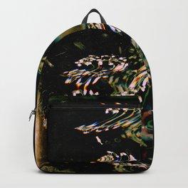 Digital Baby's Breath | Black Botanical, Surreal, Mixed Media, Floral Photo Backpack
