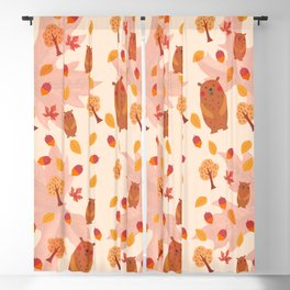 automn leaves bear pattern Blackout Curtain