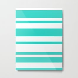 Mixed Horizontal Stripes - White and Turquoise Metal Print