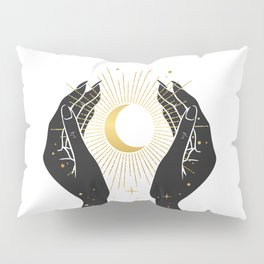 Gold La Lune In Hands Pillow Sham
