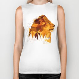 Geometric Lion Wild animals Big cat Low poly art Brown and Yellow Biker Tank