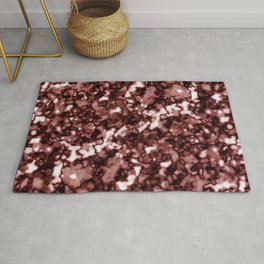 A pastel cluster of red bodies on a light background. Rug