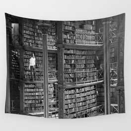 A book lovers dream - Cast-iron Book Alcoves Cincinnati Library black and white photography Wall Tapestry