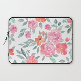 Amelia Floral in Pink and Peach Watercolor Laptop Sleeve