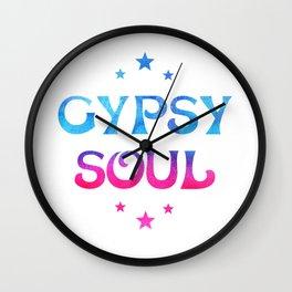 Gypsy Soul Mystical Stars Ombre Tie Dye Blue Pink Wall Clock
