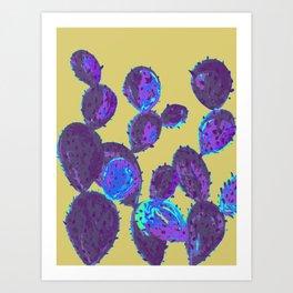 Cactus garden lilac mustard Art Print