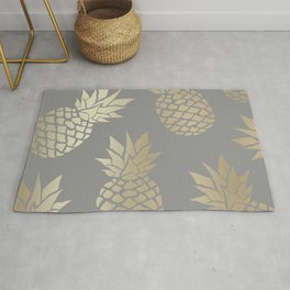 Prints of Hawaii, Pineapple Art, Gray and Gold Rug