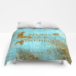 ALWAYS BE A MERMAID-Gold Faux Glitter Mermaid Saying Comforters