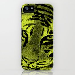 Tiger with Lime Background iPhone Case