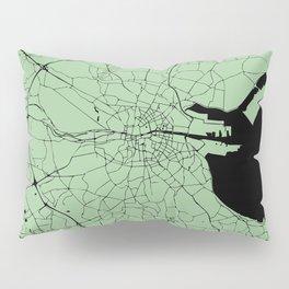 Dublin Ireland Green on Black Street Map Pillow Sham