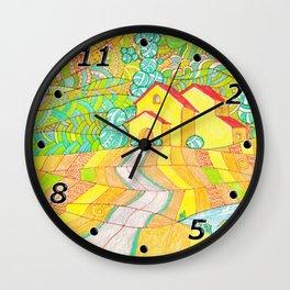 Tuscany, Italy. Doodle landscape Wall Clock