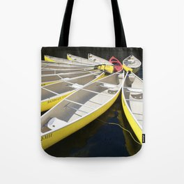 Tethered Yellow Canoes at Lost Lake in Whistler British Columbia Tote Bag