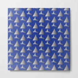 Reindeer Christmas tree Pattern blue Metal Print