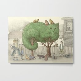 The Night Gardener - Cat Topiary  Metal Print