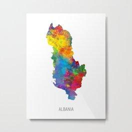 Albania Watercolor Map Metal Print