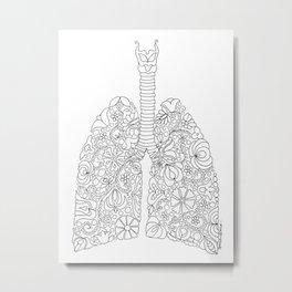 Lungs anatomy with folk motives Metal Print