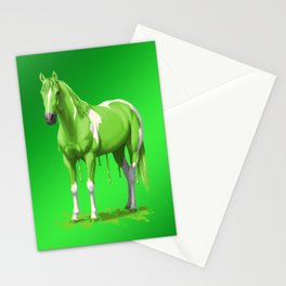 Lime Green Pinto Dripping Wet Paint Horse Stationery Cards