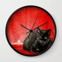 sofa Wall Clocks featuring cat on red sofa by ANArt