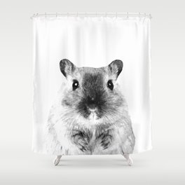 Black and White Hamster Shower Curtain