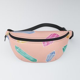 Crystals pattern - Living Coral Fanny Pack